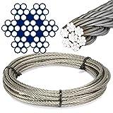 Cuerda de alambre de 5metros de acero inoxidable–compuesto en 7 hilos x 7 cordones, diámetro = 1mm.Acero inoxidable A4