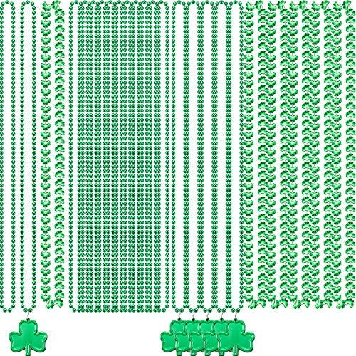 3 Estilos Collares de Cuentas Verde de San Patricio Collares de Trébol Irlandés Collares de Cuentas de Fiesta Verde para Suministros de Fiesta Decoración de Día de San Patricio Disfraces (24 Piecas)
