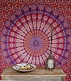 Guru-Shop Boho-Style Wandbehang, Indische Tagesdecke Mandala Druck - Lila/rot/orange, Baumwolle, 240x210 cm, Bettüberwurf, Sofa Überwurf