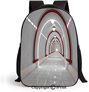 School Backpack,Station with Clean Walls Featured Surface Alien Astronomy Big Bang Ship Bags Student Stylish Book Bag Daypack for Little Boys and Girls,White Red
