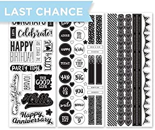 Creative Memories Black and White Celebration Scrapbook Stickers with Sentiments Such as Congrats, Happy Birthday and Happy Anniversary