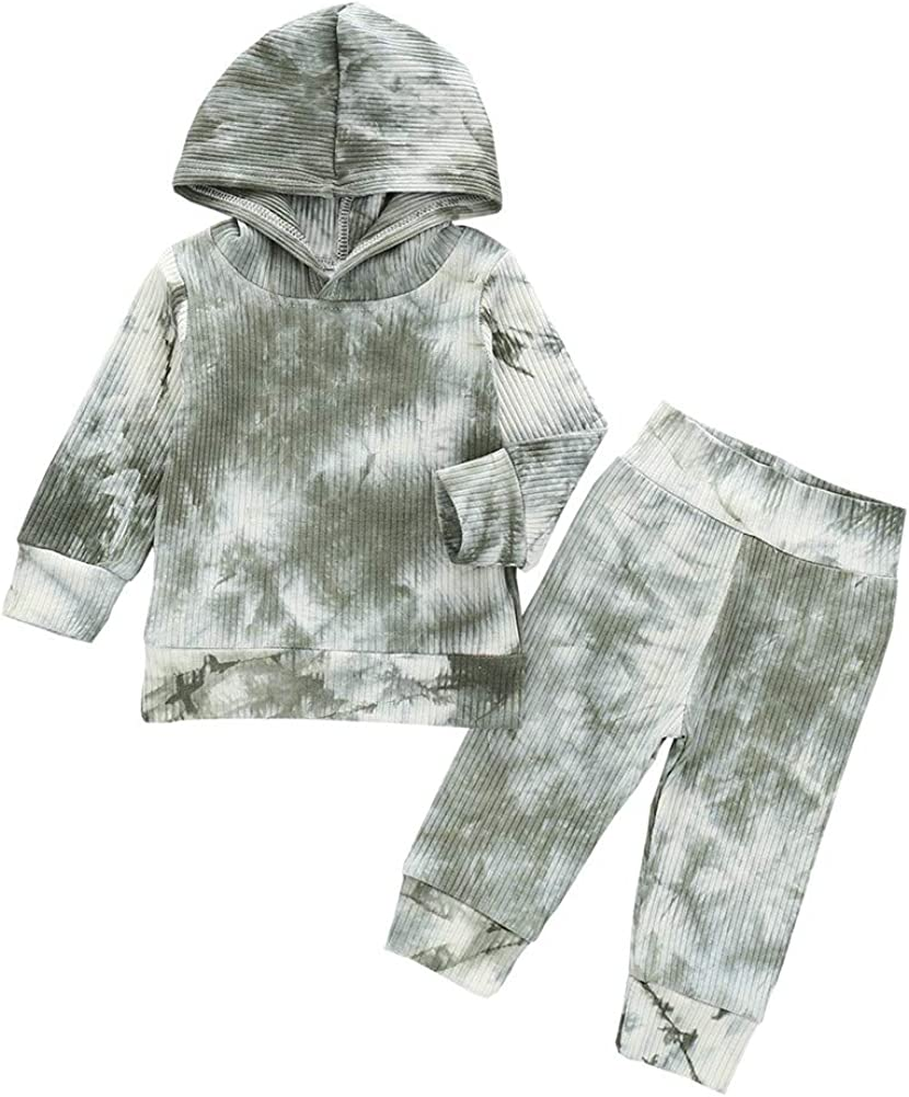 Infant Toddler Baby Hoodies Set Boy Girl Fall Winter Tie Dye Long Sleeve Sweatshirt with Hat Pants Tracksuit Outfit (Ribbed Grey, 4-5T)