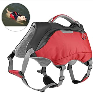 OSPet Dog Life Jacket and Backpack Vest Pet Harness Saddle Bag Hiking Gear for Camping Swiming Traveling for Medium Large Dogs