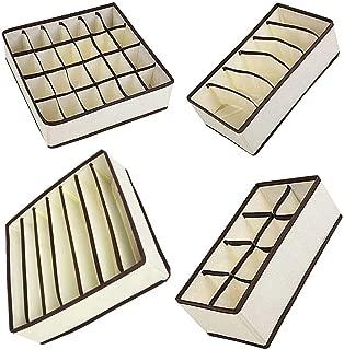 Cajas de Vestido Ropa Interior SONGMICS Organizador de Cajones Tejidos para Calcetines Sostenes Bufandas Corbatas Gris RFDZ04G Juego de 4 Separadores de Cajones de Armario Cinturones