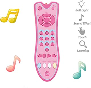 JMcall Kids Musical TV Remote Control Toy with Light and Sound Early Education Learning(Color:Gray,Pink & Material:Plastic)