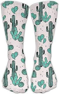 ulxjll, Calcetines Deportivos Patrón Cactus Plantas Verdes Patrón Niñas Niños Calcetines Largos Hasta La Rodilla Medias Transpirables De Viaje Personalizado Divertido 50Cm