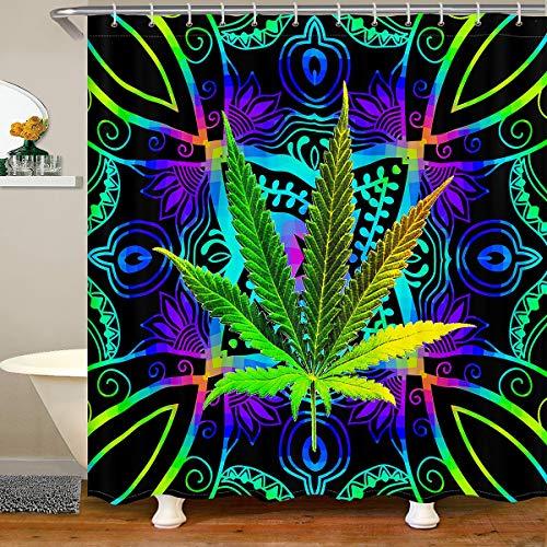 Cortina de ducha impermeable con hojas de cannabis, diseño de hojas de marihuana psicodélicas, lavable a máquina, color turquesa, para decoración de hogar, baño, dormitorio, 180 x 200 cm