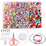 FOGAWA 600pcs Perles Enfants Kit Loisir Creatif Enfant Bijoux Bricolage 24 Types Perle Acrylique DIY pour...
