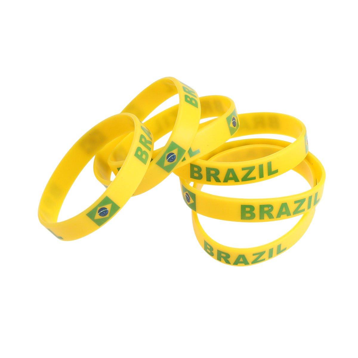 bestoyard 6 pieza País pulsera de silicona Mode brazalete deportivo para 2018 Campeonato Mundial (Brasil): Amazon.es: Deportes y aire libre