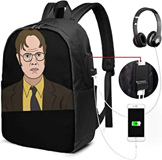 NA Black Dwight Schrute Best Travel Black Backpack One Size Print USB Backpack 17 in