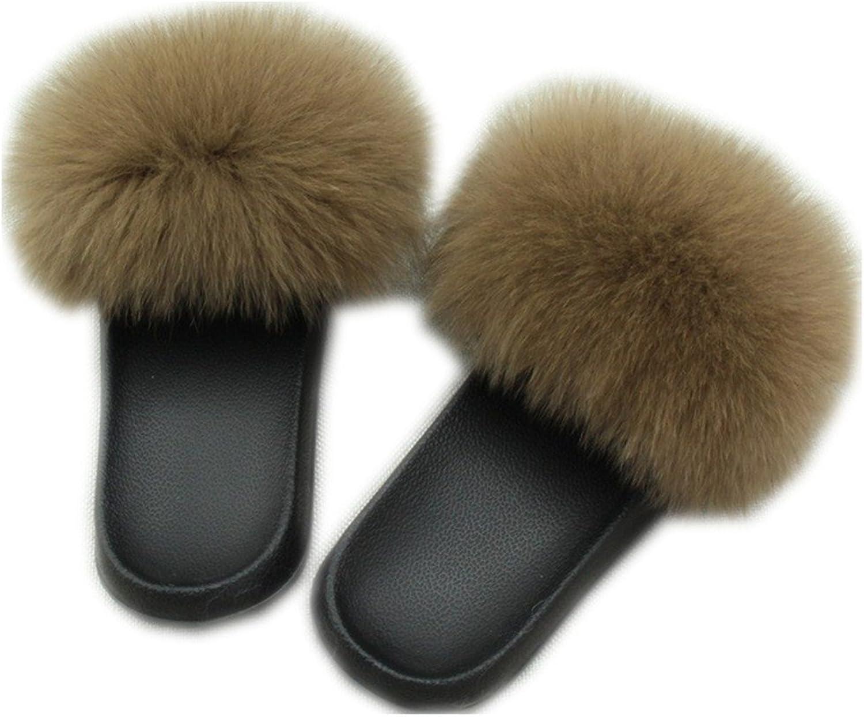 QMFUR Women's Flip Flop Fox Fur Soft Slide Flat Slipper (44-45, Brown)