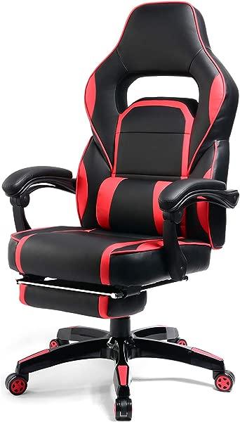 GTPLAYER 斜靠式记忆泡沫赛车游戏椅高背行政人体工学可调电脑办公桌办公椅带可伸缩搁脚板和腰垫红色