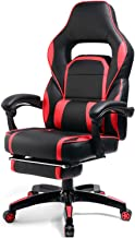 GTPLAYER Reclining Memory Foam Racing Gaming Chair High-Back Executive Ergonomic Adjustable Computer Desk Office Chair with Retractable Footrest and Lumbar Cushion Red