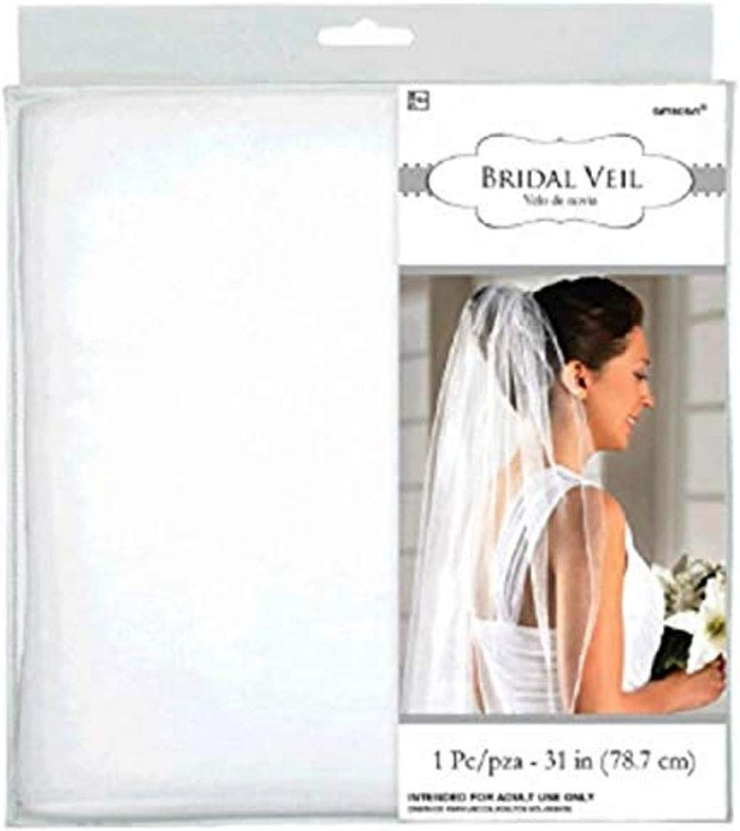 Amscan Gift Bridal Veil-Single Layer Time sale Supplies White 31 Max 72% OFF Party