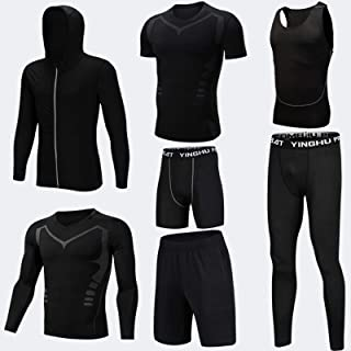 7 PCS Men's Compression Pants Shirt Top Long Sleeve Short Sleeve Jacket Set Suit,Ideal for Snow Sports, Snowboarding, Hiki...
