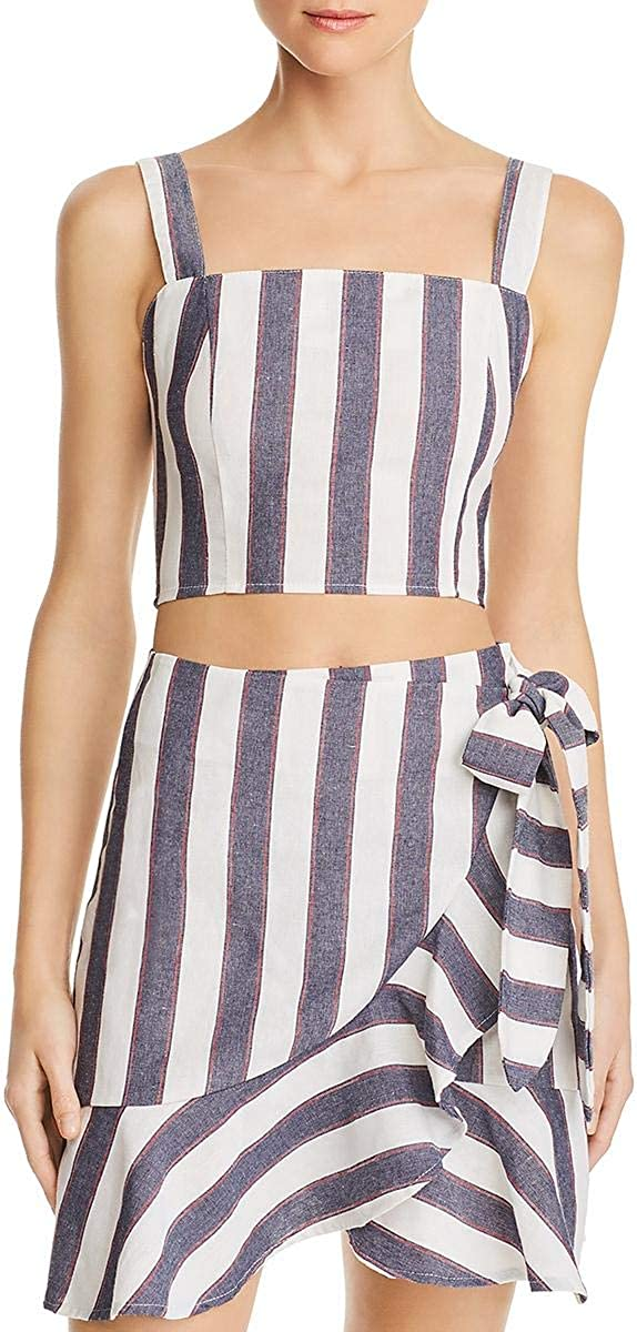 The Fifth Label Women's Sequence Sleeveless Square Neck Cropped Stripe Top