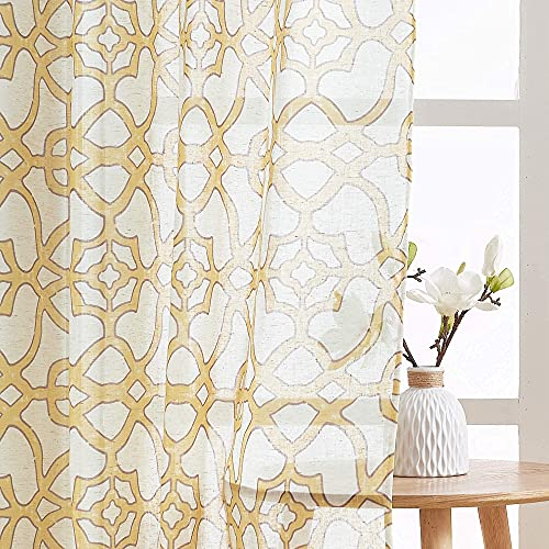 PONY DANCE Yellow Curtains 84 inches - Printed Sheer Curtains Window Treatment Covering for Home Design with Geometric Pattern, Cortinas para Sala, Yellow, Set of 2