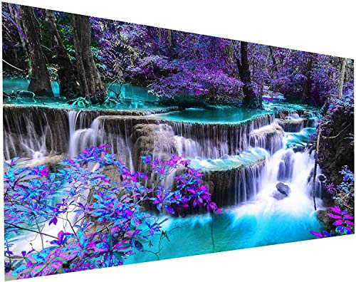 5D Diamond Painting Kits for Adults DIY Large Waterfall Full Round Drill (27.5 x 13.7 inch) Crystal Rhinestone Embroidery Pictures Arts Paint by Number Kits Diamond Painting Kits for Home Wall Decor