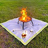 Fire Pit Mat for Deck Visible at Night, KINGXBAR Protection Grill & Patio Fire Pit Pad Hearth Rug, Fireproof Mat, Deck Protector for Wood Burning Fire Pit, Gas Fire Pit, Charcoal Grill 59'x 59'