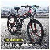 LYRWISHJD Suspensión Plegable Montaña Bicicleta Eléctrica Prima Completa con Las Bicis 48V 10Ah Batería Extraíble Montaña Bicicleta Eléctrica 300W Eléctrico Urbano For Adultos