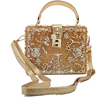 The Single Shoulder Bag Acrylic Evening Bag/Alloy Thread Discharge Carved Diamond Hatchback Ms. Portable Shoulder Bag 15 * 19 * 7cm Women's Shoulder Bag (Color : Gold)