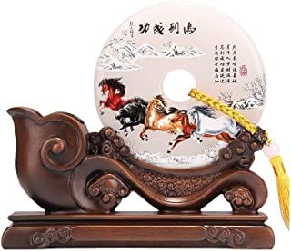 DKX Pen Holder, Desk Pen Holder, Jade Buckle Jade Safety Buckle Decoration Base Pen Holder, Office Desk Study Retro Creative Chinese Style Ornament, White (Color : White)