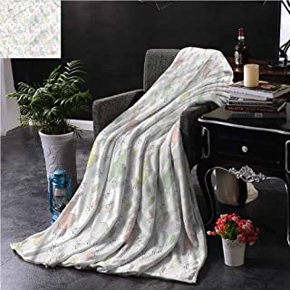 SSKJTC Llama Turquoise Throw Blanket Double-Sided Printing Cartoon Animal Collection Couch Bed Napping Reading Recliner W54 xL72