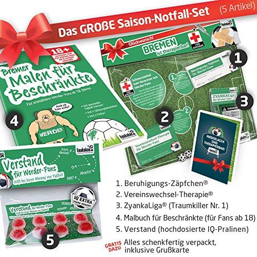 Geschenk-Idee: Das große Saison-Notfall-Set für Werder-Fans | 5X Überraschungen mit Spaßgarantie für Bremen Fans | Geschenke & Fanartikel f. Männer statt Pantoffel, Hausschuhe, Caps