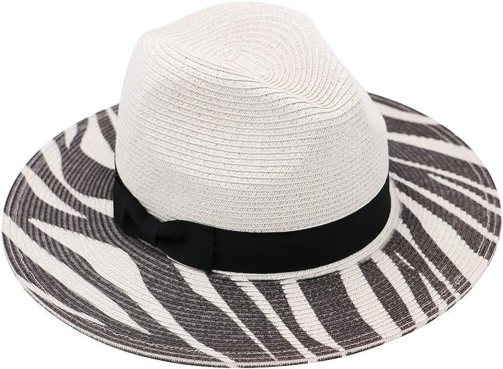 Krono Krown Women's Panama Fedora Cowboy Wide Brim Summer Beach Sun Hat w/Suede Knot - Paper Straw, Adjustable, UPF50+