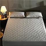 XGguo Protector de colchón - Protector de colchón antialérgico Otoño e Invierno Gruesa sábana Tridimensional-corazón cálido-Gris_200cm × 220cm
