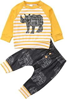 Newborn Baby Boy Clothes Set Kids Long Sleeve Cartoon Animal Striped Shirt Tops+Long Pants 2Pcs Outfits Tacksuit