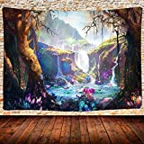 Psychedelic Tapestry Fairy Tale World Enchanted Forest Waterfall Tapestry, Fantasy Landscape Tapestry Wall Hanging Poster for Room Dorm Home Decor 80x60 Inches GTQQUH776