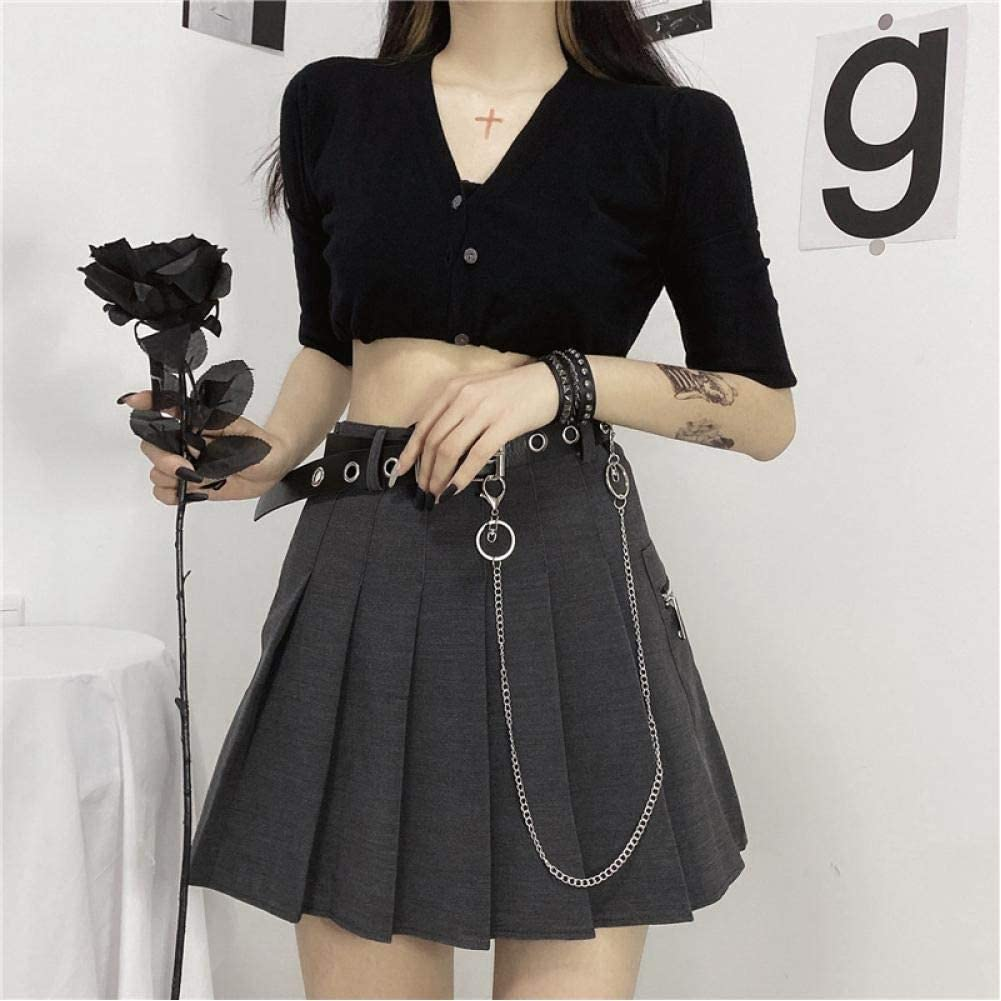 ZJLX Short Skirt A-Line High Waist Ruffle Belt Special Ranking TOP16 price S Sexy Chain Tool