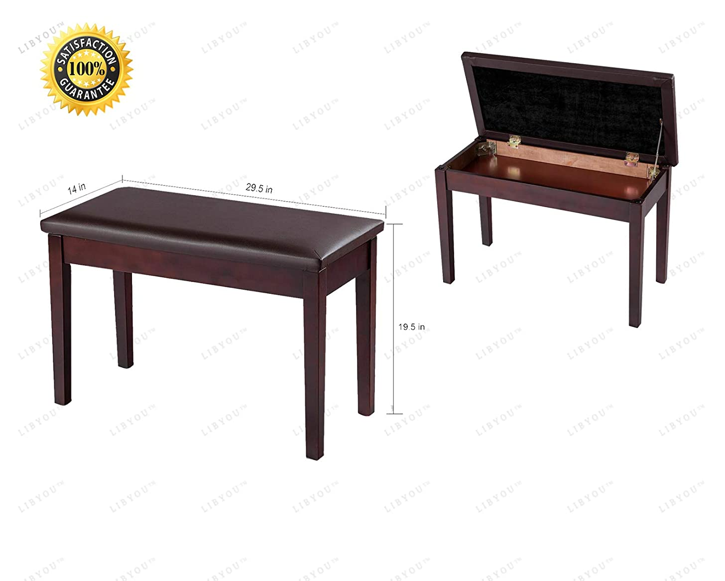 LIBYOU_Piano Bench,Wood Leather Piano Bench,Padded Double Duet Keyboard Seat,Adjustable Piano Bench, Leather Keyboard Padded Seat,Wooden Piano Bench,Piano Stool, Keyboard Bench