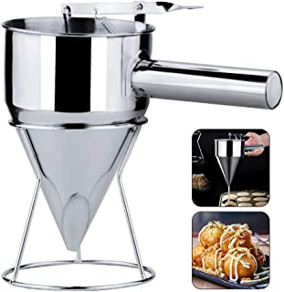 Konren Confectionery Funnel With Stand - Stainless Steel Funnel, Cake Baking Desserts Cooking Tool Cupcakes Baking Dispenser with Rack for Home Kitchen Bakery Use - Precise Dispensing and Filling