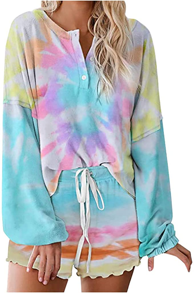 Portazai 2 Piece Pajamas Set Tie-Dye Printed Lounge Set Long Sleeve Top and Shorts Set Sleepwear Nightwear Loungewear
