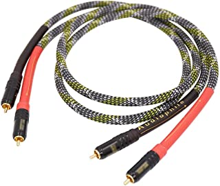 Moonsaudio HiFi Interconnect Cable 2RCA Male to Dual RCA Male AV Cables,Digital & Analogue Subwoofer Stereo Audio Cable fo...