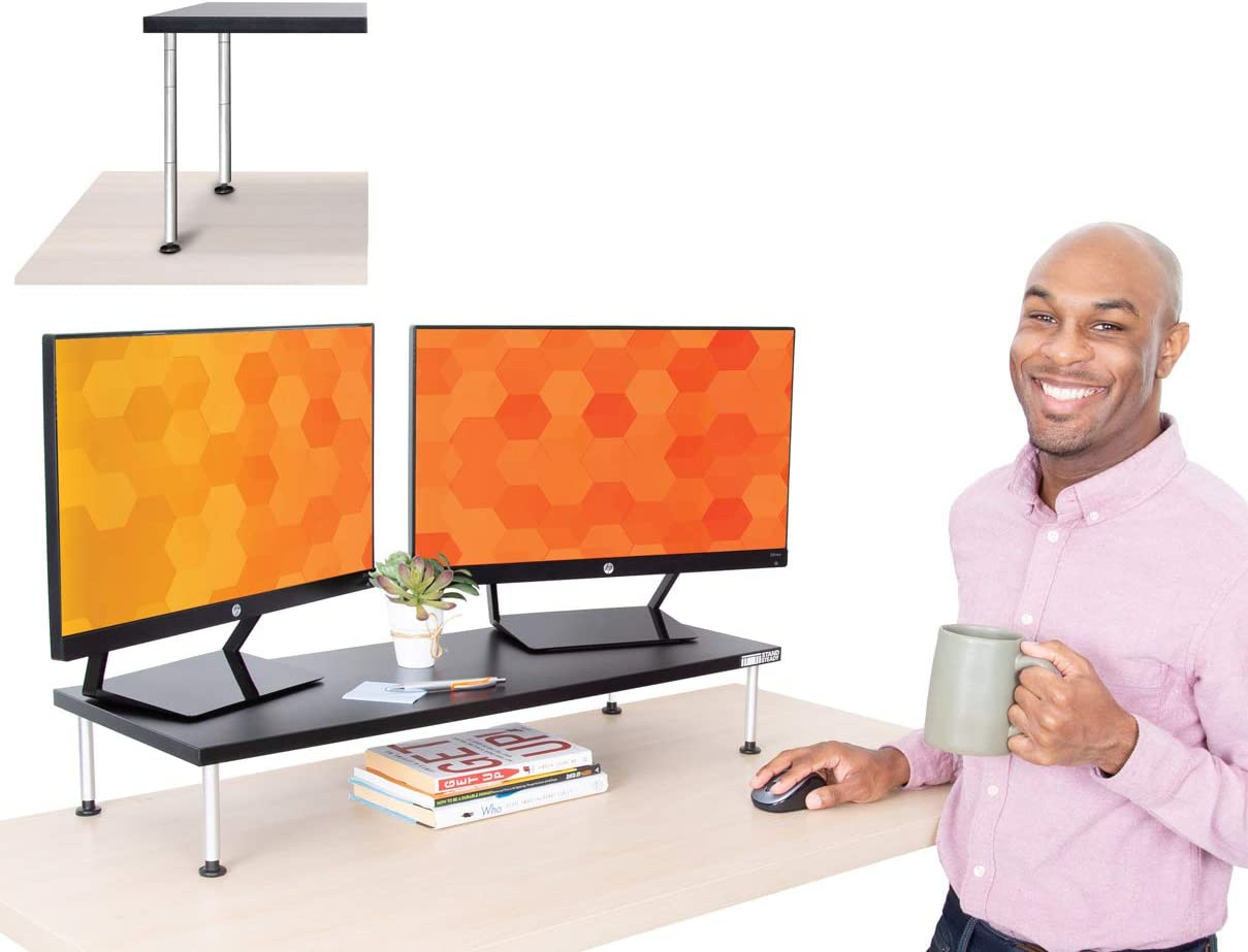 Stand Steady Titan Monitor Stand   Large Height Adjustable Monitor Riser Supports 2 Monitors   Monitor Shelf Keeps Screens at Eye Level to Relieve Neck Pain   Great for Home & Office! (31 x 12 )