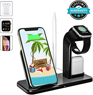 Wireless Charger, 3 in 1 Wireless Charging Dock for Apple Watch and Airpods, Charging Station for Multiple Devices, Qi Fast Wireless Charging Stand Compatible iPhone X/XS/XR/Xs Max/8/8 Plus (Black)