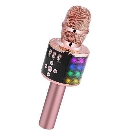 Microphone Karaoke Sans Fil Haut-parleur Multifonctionnel Bluetooth Karaok/é Microphone pour Enfants//Adultes Chanter Micro Karaok/é sans Fil Bluetooth Compatible avec Android//IOS//PC//Smartphone