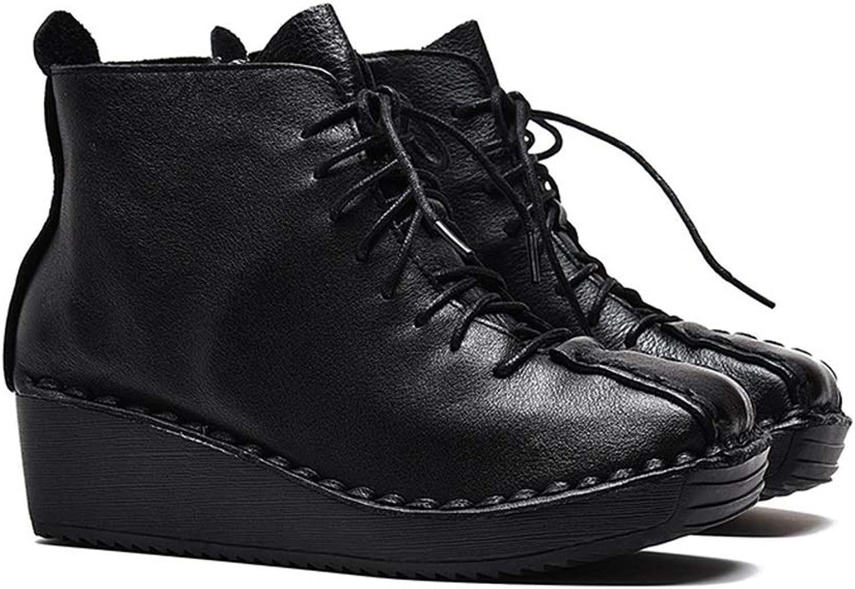 YAN Damenmode Schuhe Herbst Winter Leder Retro Leder Stiefelies Lace-up Keilabsatz Schuhe Vintage Freizeitschuhe