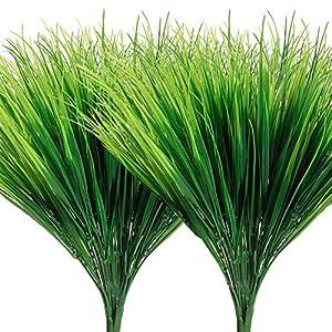 AGEOMET 14pcs Artificial Outdoor Plants Plastic Wheat Grass Greenery Shrubs UV Resistant Fake Outdoor Plants Plastic Shrubs for Outdoor Home Garden Decoration