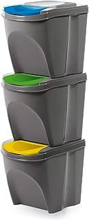 Prosperplast Juego de 3 cubos de basura con compartimentos 3