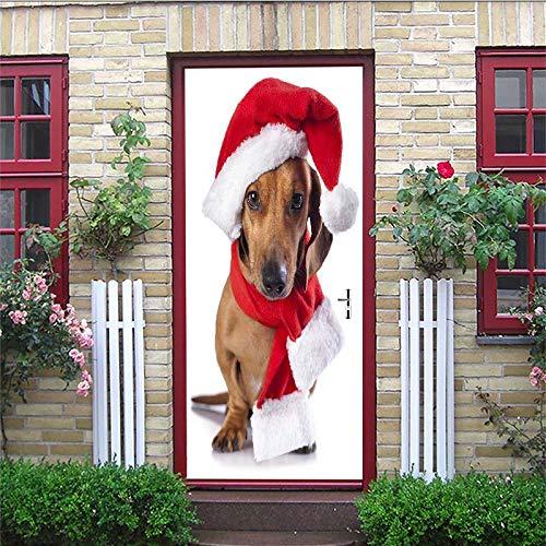 Sticker Profis Türtapete Selbstklebend Türposter Pvc Hund Mit Weihnachtsmütze Fototapete Türfolie Poster Tapete 77X200Cm Schlafzimmer Badezimmertür Dekoration