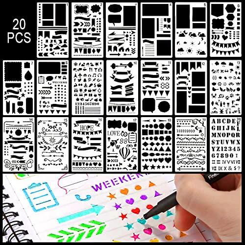 Schablonen Set, 20 Stück Zeichenschablonen Set Kunststoff Vorlage zubehör für Bullet Journal, Scrapbooking, Fotoalbum, Gästebuch, DIY