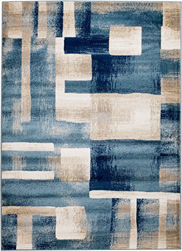 MADISON COLLECTION 404 Modern Abstract Blue Area Clearance Soft and Durable Pile. Size Option , 1'10'' x 2'11'' Scatter Rug Door Mat