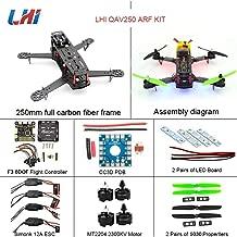 LHI 250 Race Quad ARF 250mm Carbon Fiber Frame Kit + F3 6DOF Flight Controller + MT2204 2300KV Brushless Motor + Simonk 12A ESC + 5030 Propeller Prop 2-3s ARF Kit FPV Quadcopter QAV250