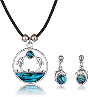 Barch Blue Abalone Paua Dolphin Pendant Mood Necklace with Stainless Steel Chain and Wax Leather Cord for Gift Jewelry
