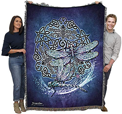 Celtic Dragonfly - Brigid Ashwood - Cotton Woven Blanket Throw - Made in The USA (60x50)