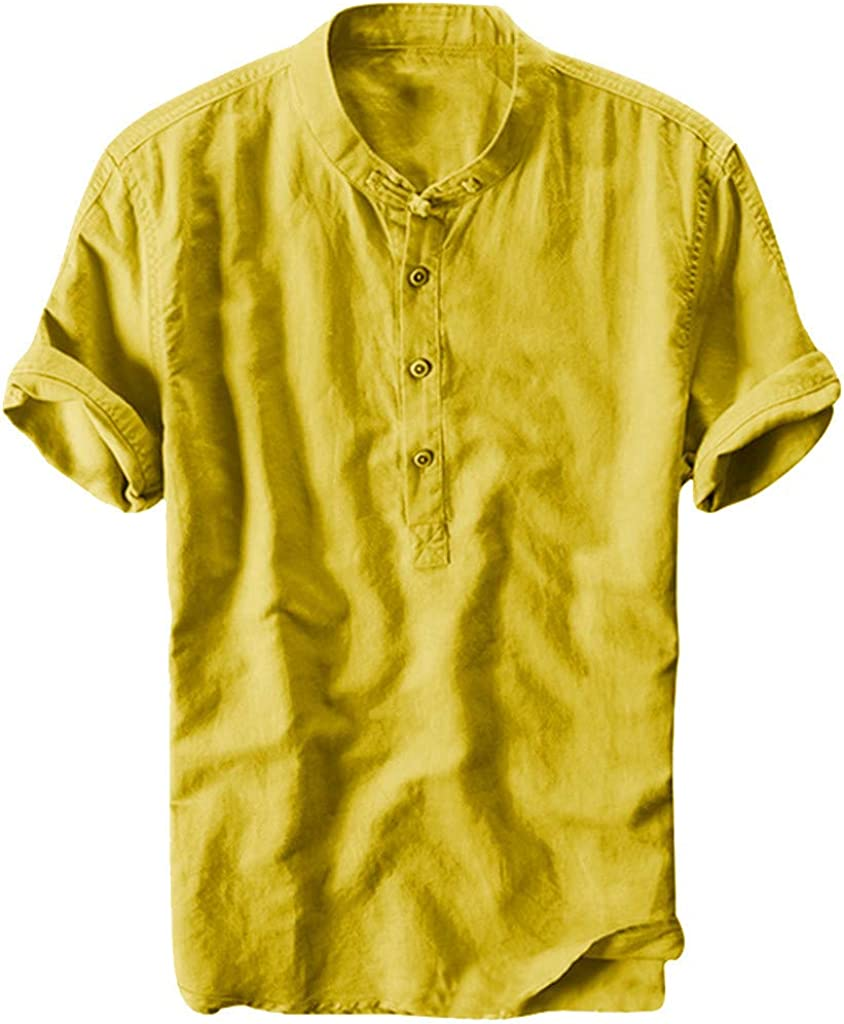 Beppter Shirts New Orleans Mall Rapid rise Men's Short Sleeve Butto Cotton Solid Baggy Linen